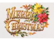 "Pack of 16 """"Vintage Christmas"""" Text with Poinsettias Fine Art Embossed Holiday Greeting Cards"" 9SIA09A1YA1878"