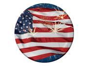 "Club Pack of 96 American Flag Fireworks Finale Round Disposable Dinner Paper Party Plates 7"""""" 9SIA09A43Y3703"