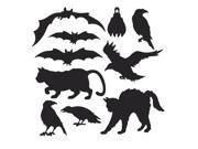 Club Pack of 120 Black Cats, Bats, and Birds Halloween Silhouettes Cutout Decorations 9SIA09A36E1259