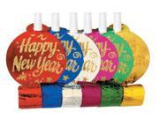 Club Pack of 72 Glittered Multi-Colored Foil Happy New Year Blowout Noisemakers 9SIA09A34D3238