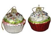 "2 Cupcake Heaven Beaded and Frosted Glass Cupcake Christmas Ornaments 2.25"""""" 9SIA09A0DZ8804"