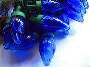 Image of Set of 50 Transparent Blue LED C9 Christmas Lights - Green Wire
