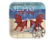 "Club Pack of 96 Beach Bums """"Seas the Day"""" Disposable Paper Premium Strength Party Lunch Plates 7"""""" 9SIA09A43Y3952"