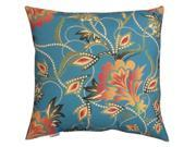"20"""" Outdoor Deck and Patio Turquoise & Orange Vibrant Floral Square Throw Pillow"" 9SIA09A3UZ9566"