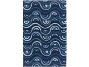 2' x 3' Majestic Hills Midnight Blue and Aqua Hand Hooked Area Throw Rug 9SIA09A2RR9860
