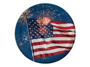 "Club Pack of 96 American Flag Fireworks Finale Round Disposable Dinner Paper Party Plates 9"""""" 9SIA09A43Y3724"