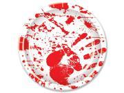 "Club Pack of 96 White and Red Disposable Halloween Themed Bloody Handprints Party Dinner Plates 9"""""" 9SIA09A34P3807"