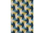 2' X 3' Midnight Blue and Sand White Modern Tesselation Hand Tufted Area Throw Rug 9SIA09A35N7795