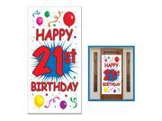 Club Pack of 12 Birthday Themed 21st Birthday Door Cover Party Decorations 5'