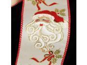 "Ivory with Big Beard Santa Print Wired Craft Ribbon 2.5"""" x 20 Yards"" 9SIA09A1Z02464"