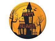 "Club Pack of 96 Haunted Halloween Black and Orange """"Happy Halloween"""" Luncheon Plates 7"""""" 9SIA09A42Z9112"