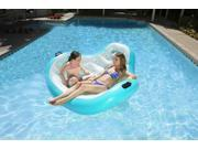 "66"""" Aqua Blue and White Inflatable Aqua Cradle 2-Person Swimming Pool Float"" 9SIA09A3430663"