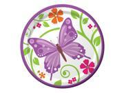 "Club Pack of 96 Butterfly and Flower Aflutter Luncheon Party Plates 7"""""" 9SIA09A43Y3616"