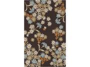 8' x 10' Jardin De Fleurs Chocolate Brown and Gold Hand Hooked Medium Pile Area Throw Rug 9SIA09A1Z48505