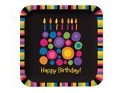 """Club Pack of 96 Birthday Cake Dots """"""""Happy Birthday"""""""" Disposable Square Paper Party Dinner Plate 9"""""""""""" 9SIA09A48H3800"""
