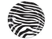 "Pack of 96 Disposable Black and White Zebra Print Dinner Plates 9"""""" 9SIA09A3AX0892"