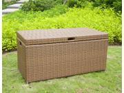 40 Honey Brown Resin Wicker Outdoor Patio Garden Hinged Lidded Storage Deck Box