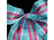 Pink, Blue and Green Plaid Pattern Wired Craft Ribbon 1.5