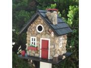 9.5 Stone Cottage Red Black White Fully Functional Outdoor Garden Birdhouse