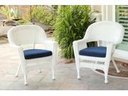 Set of 2 White Resin Wicker Outdoor Patio Garden Chairs - Navy Blue Cushions 9SIA09A5BH6075