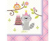 """Club Pack of 192 Happi Woodland- Girl Premium 3-Ply Disposable Party Beverage Napkins 5"""""""""""" 9SIA09A34D3466"""
