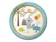 """Club Pack of 96 Happi Woodland- Boy """"""""Happy Birthday"""""""" Disposable Paper Party Banquet Dinner Plates 9"""""""""""" 9SIA09A34D4927"""