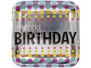 "Club Pack of 96 Birthday Pop """"Happy Birthday"""" Disposable Square Foil Paper Party Dinner Plate 9"""""" 9SIA09A34D5242"