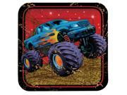 "Club Pack of 96 Mudslinger Monster Truck Square Paper Luncheon Party Plates 7"""""" 9SIA09A34D5174"