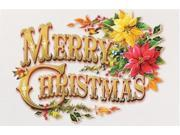 """Pack of 16 """"""""Vintage Christmas"""""""" Text with Poinsettias Fine Art Embossed Holiday Greeting Cards"""" 9SIA09A5BD5205"""