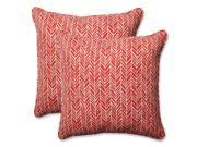 Set of Two Simplistic Nature Brick Red and Pearly White Corded Throw Pillows 18.5�