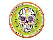 "Club Pack of 96 Skelebration Green and Orange Large Day of the Dead Skull Dinner Plates 7"""""" 9SIA09A4315636"