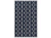 2' x 3' Chain Barricade Midnight Blue and Whisper Gray Hand Hooked Wool Area Throw Rug 9SIA09A4PD5110