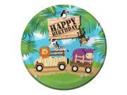 "Club Pack of 96 Safari Adventure """"Happy Birthday"""" Disposable Paper Party Banquet Dinner Plates 9"""""" 9SIA09A34D4128"