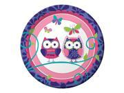 "Club Pack of 96 Pink and Purple Owl Pal Birthday Paper Luncheon Party Plates 7"""""" 9SIA09A4342121"