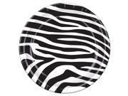 "Pack of 96 Disposable Black and White Zebra Print Dessert Plates 7"""""" 9SIA09A3G39207"