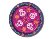 "Club Pack of 96 Festive Multicolor Day Of The Dead Skulls Disposable Dinner Plates 9"""""" 9SIA09A45Z9968"