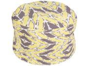 "20"""" Yellow Buff and Gray Wrapped Leaves Round Outdoor Patio Pouf Ottoman"" 9SIA09A5BH8032"