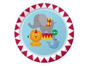 "Club Pack of 96 Multi-Colored Circus Time Animals Paper Luncheon Party Plates 7"""""" 9SIA09A48F5057"