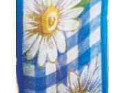 Royal Blue Daisy Plaid Sheer Wired Edge Craft Ribbon 1