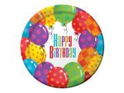 "Club Pack of 96 Balloon Patterns """"Happy Birthday"""" Disposable Paper Premium Strength Dinner Plates 9"""""" 9SIA09A34D4343"