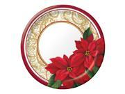 """Club Pack of 300 Red, Green, and Gold Poinsettia Lace Disposable Paper Dinner Plates 7"""""""""""" 9SIA09A48H5733"""