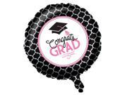 "Pack of 10 Black and Pink """"Congrats Grad"""" Balloons 18"""" Glamorous Grad Collection"" 9SIA09A43Y3891"