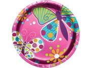 "Club Pack of 96 Pink Butterfly Sparkle Paper Foil Luncheon Party Plates 7"""""" 9SIA09A34D3129"