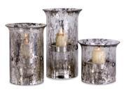Set of 3 Silver Streaked Glass Votive Candle Holders 9SIA09A0ZY9026