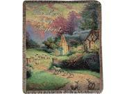 "Thomas Kinkade """"The Lord Is My Shepherd"""" Cottage Pictorial Jacquard Woven Fringed Throw Blanket 50"""" X 60"""""" 9SIA09A5W16742"