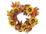 """22"""""""" Harvest Sunflower and Pumpkin Artificial Thanksgiving Wreath - Unlit"""" 9SIA09A5BD5416"""