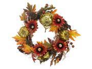 "24"""" Gold Pumpkin and Red Sunflower Autumn Harvest Artificial Thanksgiving Wreath - Unlit"" 9SIV1JB6Y03220"