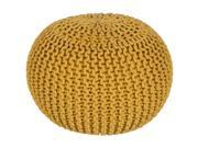 "20"""" x 14"""" Hermosa Mustard Yellow Hand Crafted Cotton Round Pouf Ottoman"" 9SIA09A6SK4514"