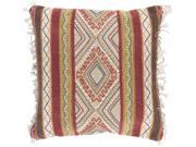 20� Poppy Red and Beige Brown Fringed Decorative Square Throw Pillow - Down Filler