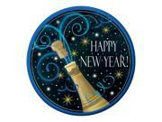 "Pack of 96 Happy New Year Champagne Swirl Round Party Luncheon Paper Plates 7"""""" 9SIA09A6XH0666"